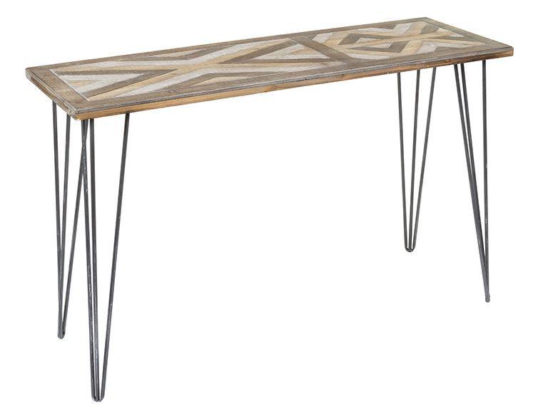 Consola industrial madera y patas de forja 40 x 120 x 76 - Consola industrial ...