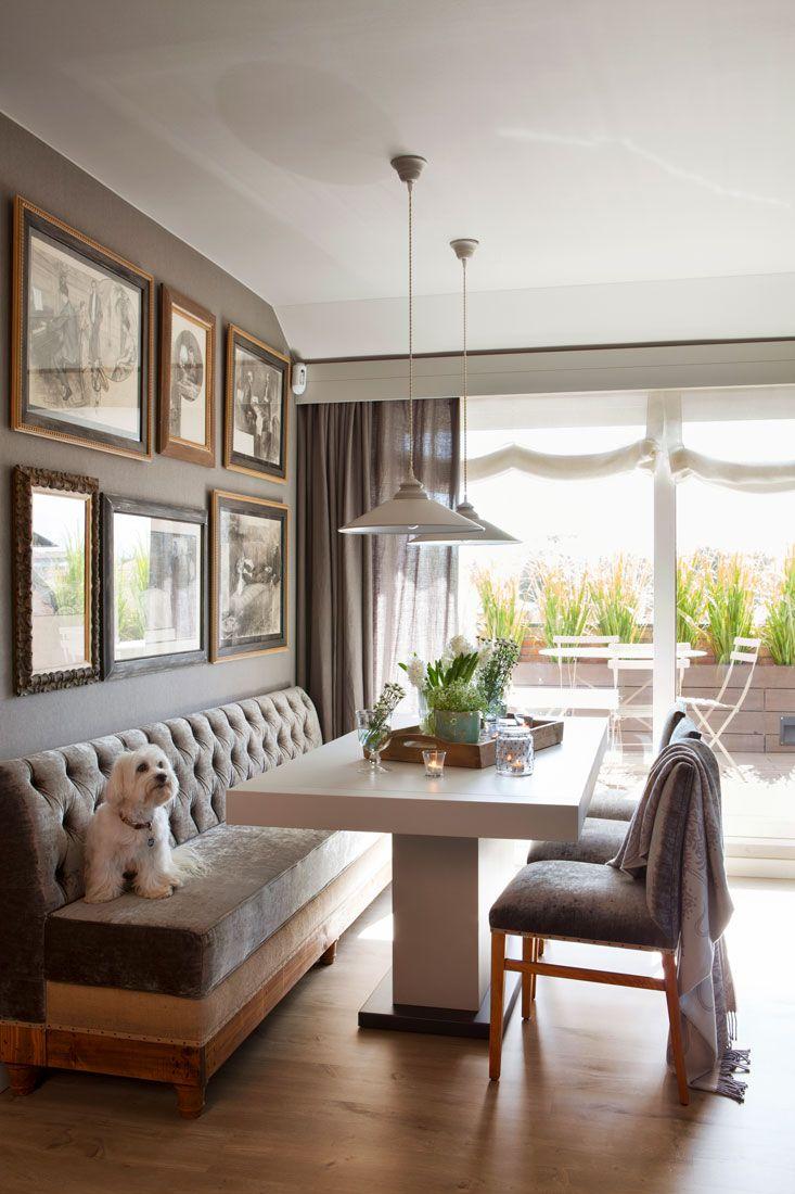 mesa-comedor-con-banco-y-sillas-de-terciopelo 00421266 O | Pinterest ...
