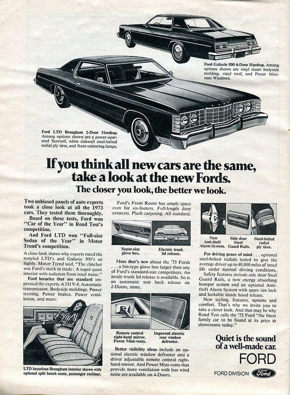 1973 Ford Galaxie 500 Ltd Brougham Advertisement Newsweek April 2 1973 With Images Ford Galaxie 500 Ford Galaxie Galaxie 500