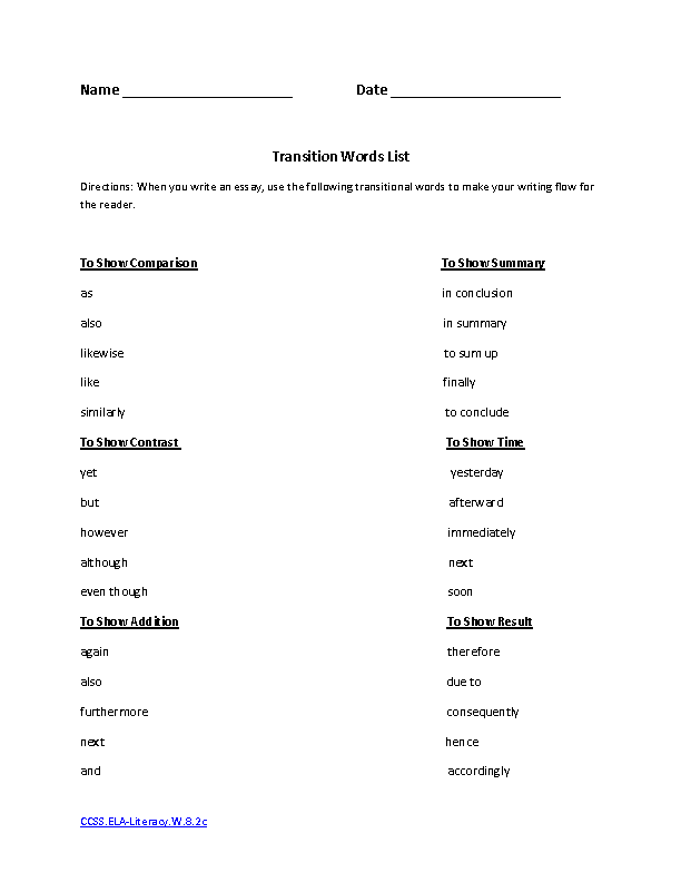 Transition Words List ELA-Literacy W 8 2c pdf Writing Worksheet