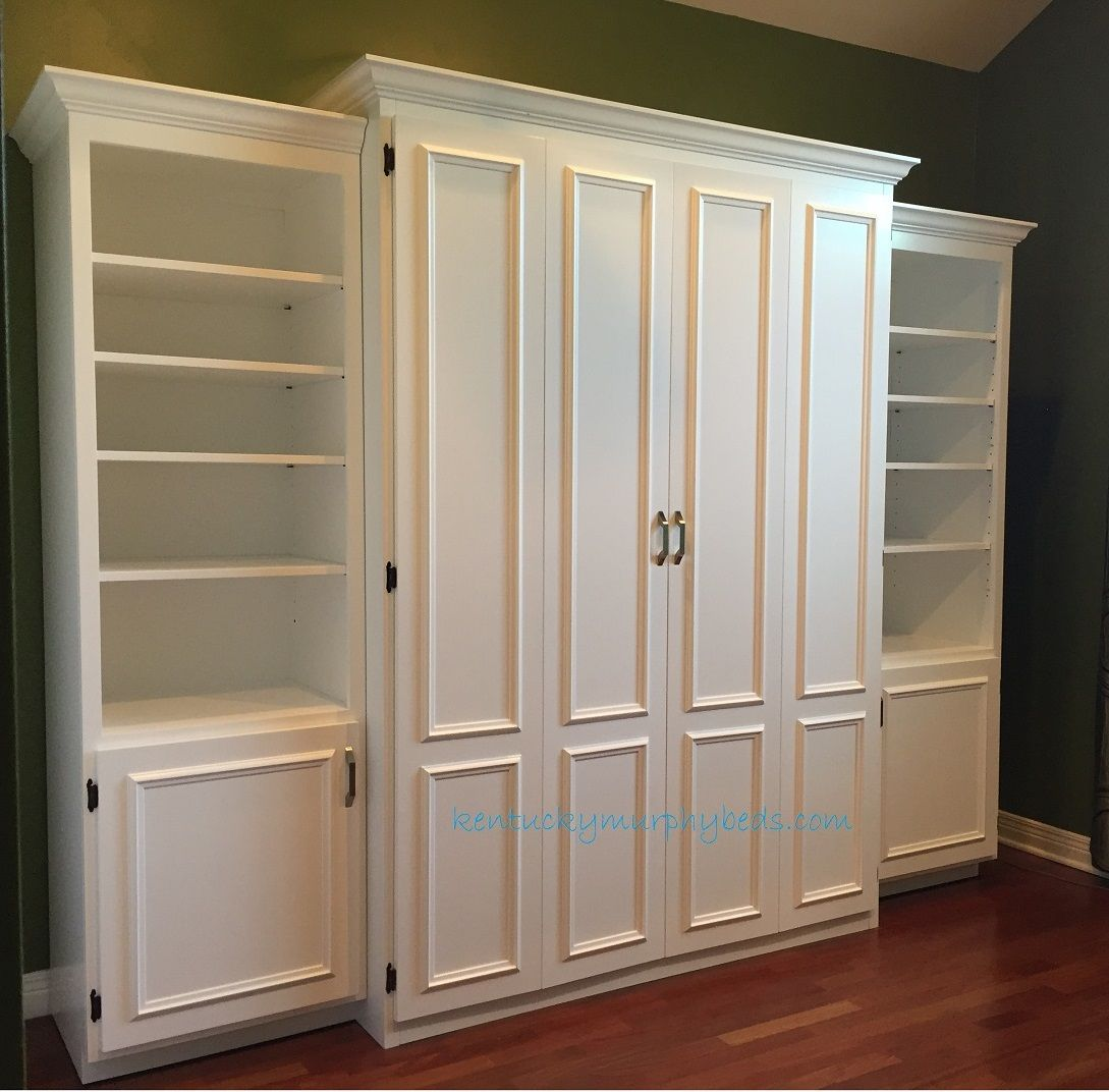 White Painted MDF Queen Size Murphy Bed, Flat Panel Surface Trimmed Doors,  Two Bookcases Design Inspirations