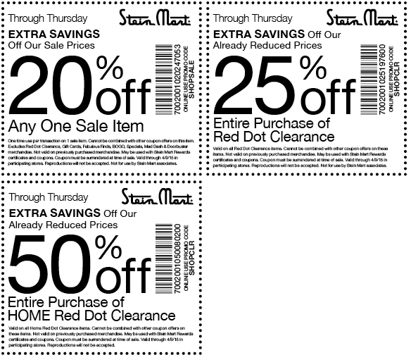 Pinned April 8th: 20-50% off sale & clearance at Stein #Mart or online via promo code SHOPSALE #coupon via The #Coupons App