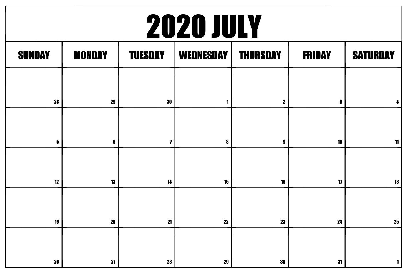 Free July Calendar 2020 Monthly Printable Templates July