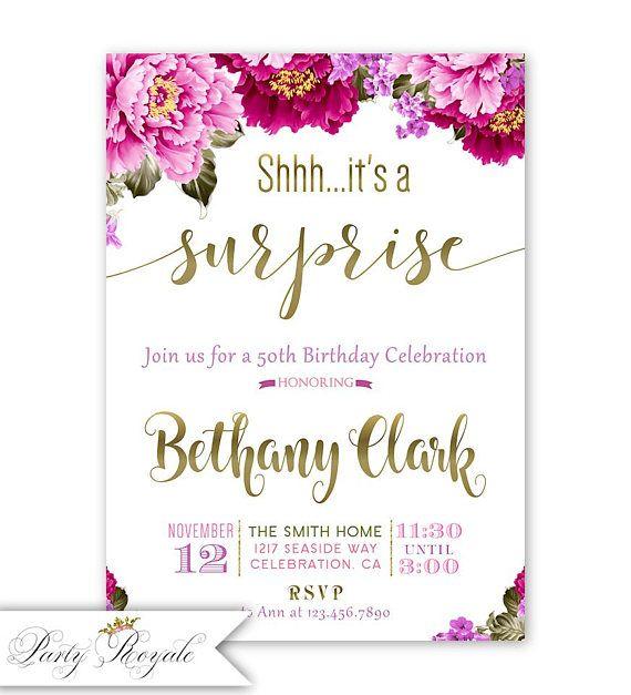 Surprise Birthday Invitation Surprise 50th Birthday Invites Pink
