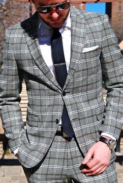 Plaid suit - nursery drapes, maybe