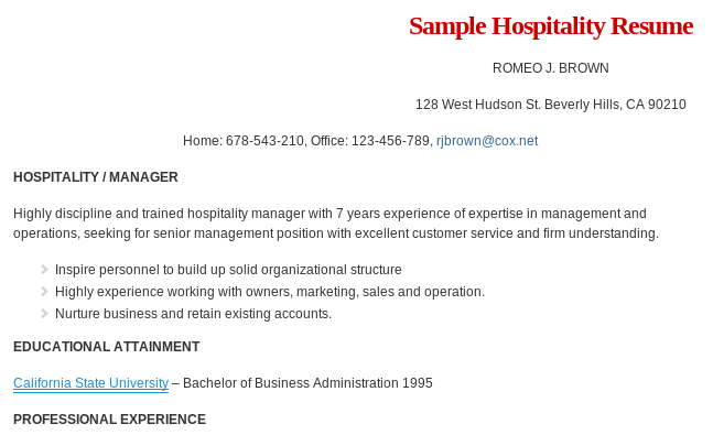 Sample Hospitality Management Resume Format Read More @ Http://www. Resumeformat.org/hospitality Management Resume.html