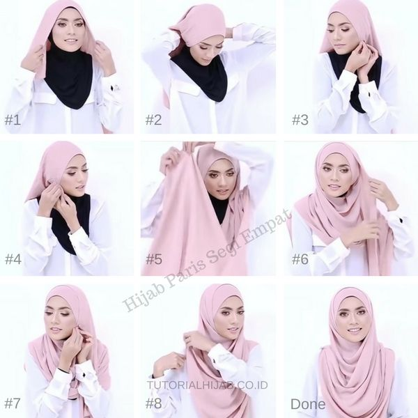25 Tutorial Hijab Segi Empat Praktis Cara Memakai Jilbab Paris
