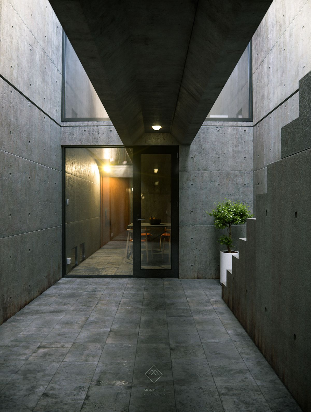 tadao ando azuma house on behance modern architecture. Black Bedroom Furniture Sets. Home Design Ideas