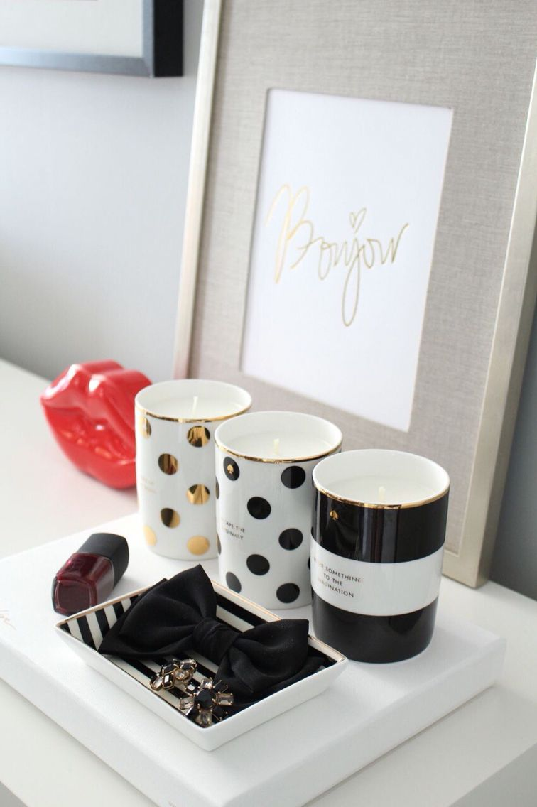 Black White Gold And Red Home Office White Desk Kate Spade