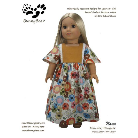 Maxi Dress PDF sewing pattern for 18 inch American Girl Dolls 70s ...