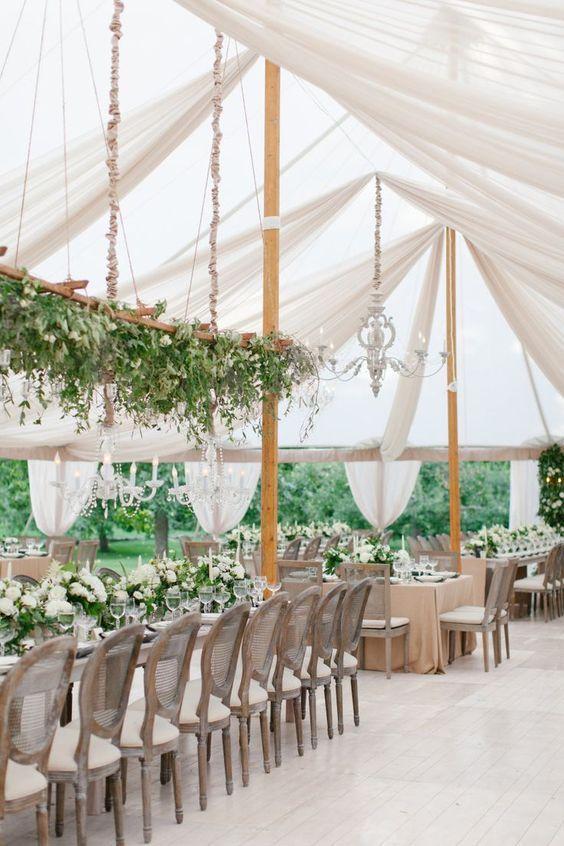 Tent Wedding With Greenery Wedding Centerpiece Marquee Wedding