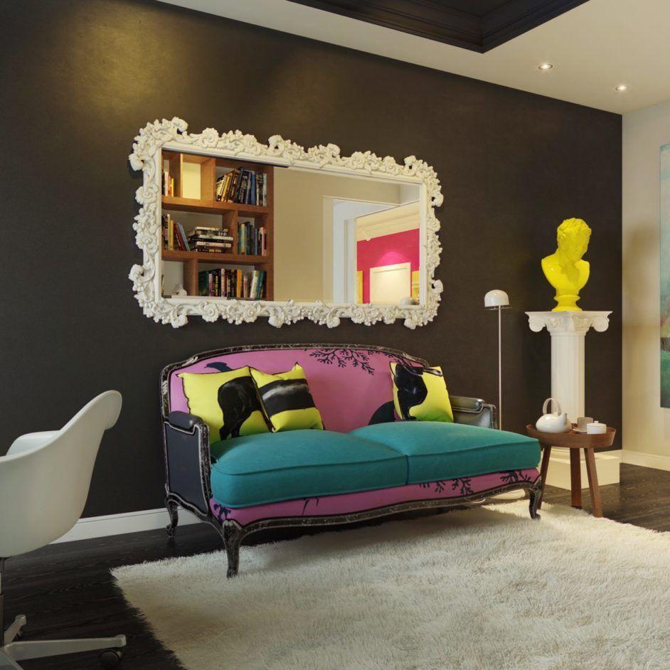 Captivating Pop Art Living Room Design With White Wood Carved Frame Mirror And Awesome Pop Art Sofa Interior Design Art Pop Art Decor Home Decor #pop #art #living #room