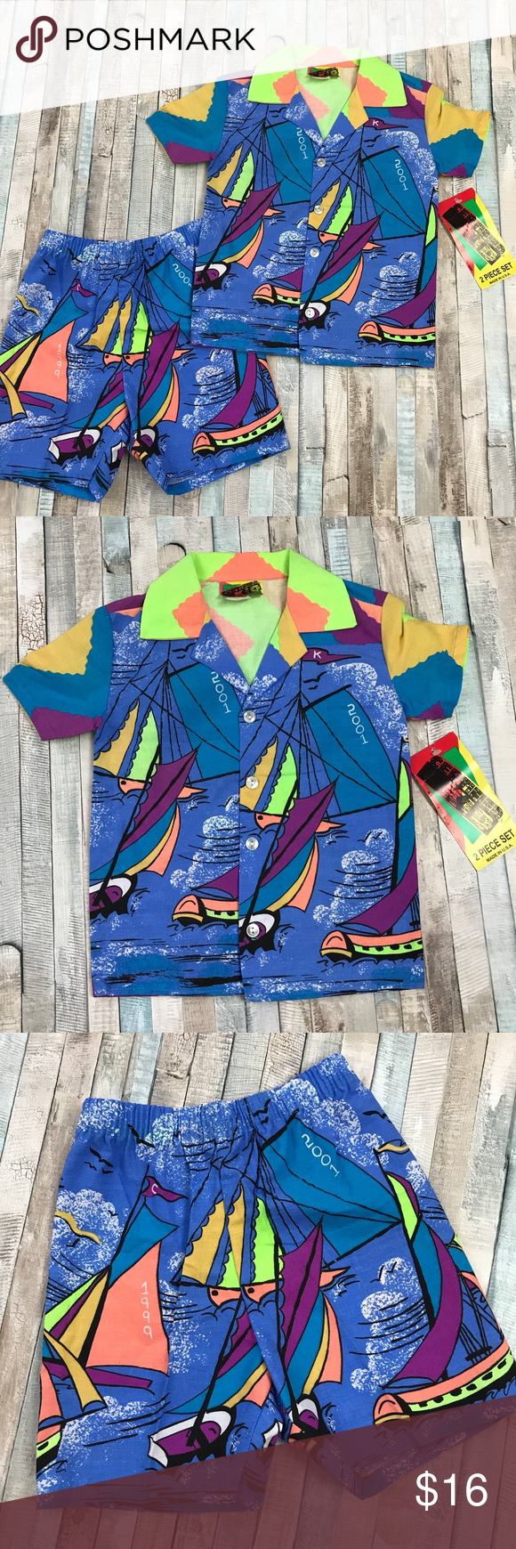 New Funky Retro Sailboat Outfit Neon Beach Shorts Funky