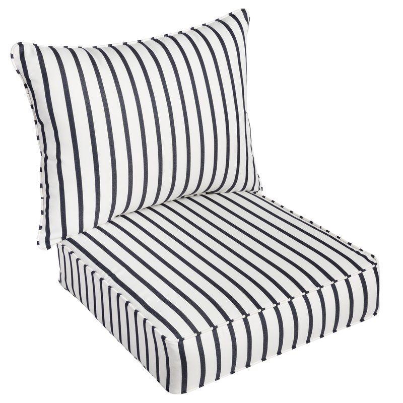 Whitten Stripe Indoor Outdoor Sunbrella Lounge Chair Cushion Outdoor Chair Cushions Dining Chair Cushions Lounge Chair Cushions