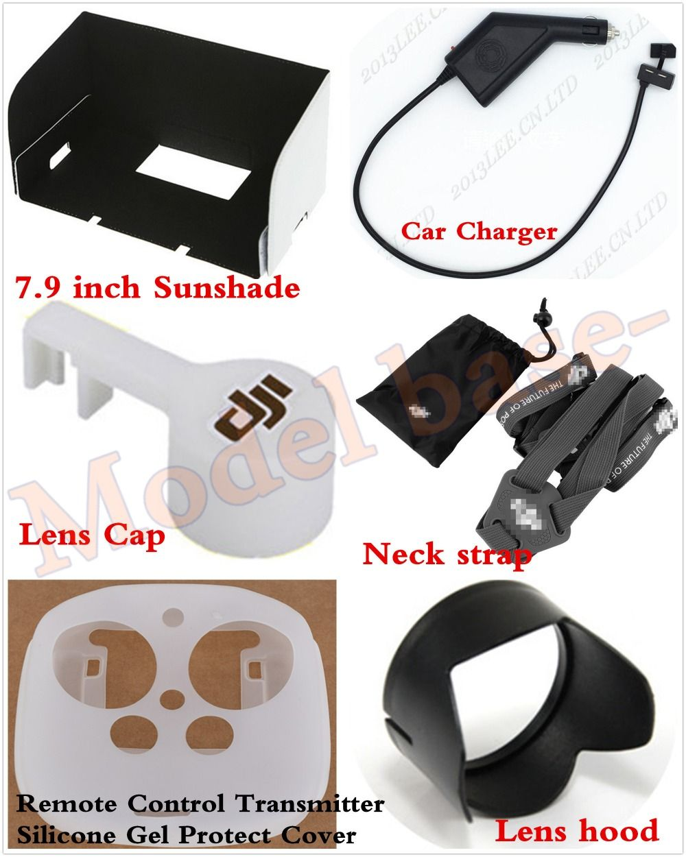 "7.9"" Sunshade+Transmitter Protection Cover+Lens Hood+Cap+Neck +Car Charger For DJI Phantom 3 Professional"