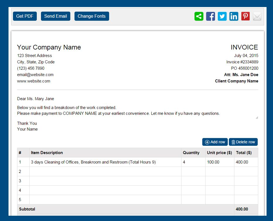 Free Invoice Template  Make Invoice Online Free Beautiful Sample