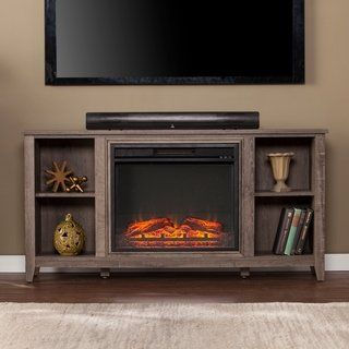 Porch Den Haveford Mocha Gray Electric Fireplace Tv Stand