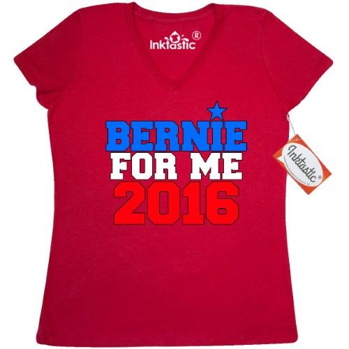 Inktastic Bernie For Me 2016 Women's V-Neck T-Shirt Sanders Clothing Apparel Tees Adult, Size: XL, True Red