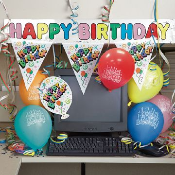 Happy Birthday Decorate Your Employees Desk With Banners Flags Confetti Balloons MRTLTD Found On Partypro