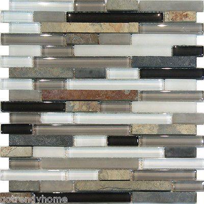 Sample-Slate Stone & Glass Gray White Linear Mosaic Tile Backsplash ...
