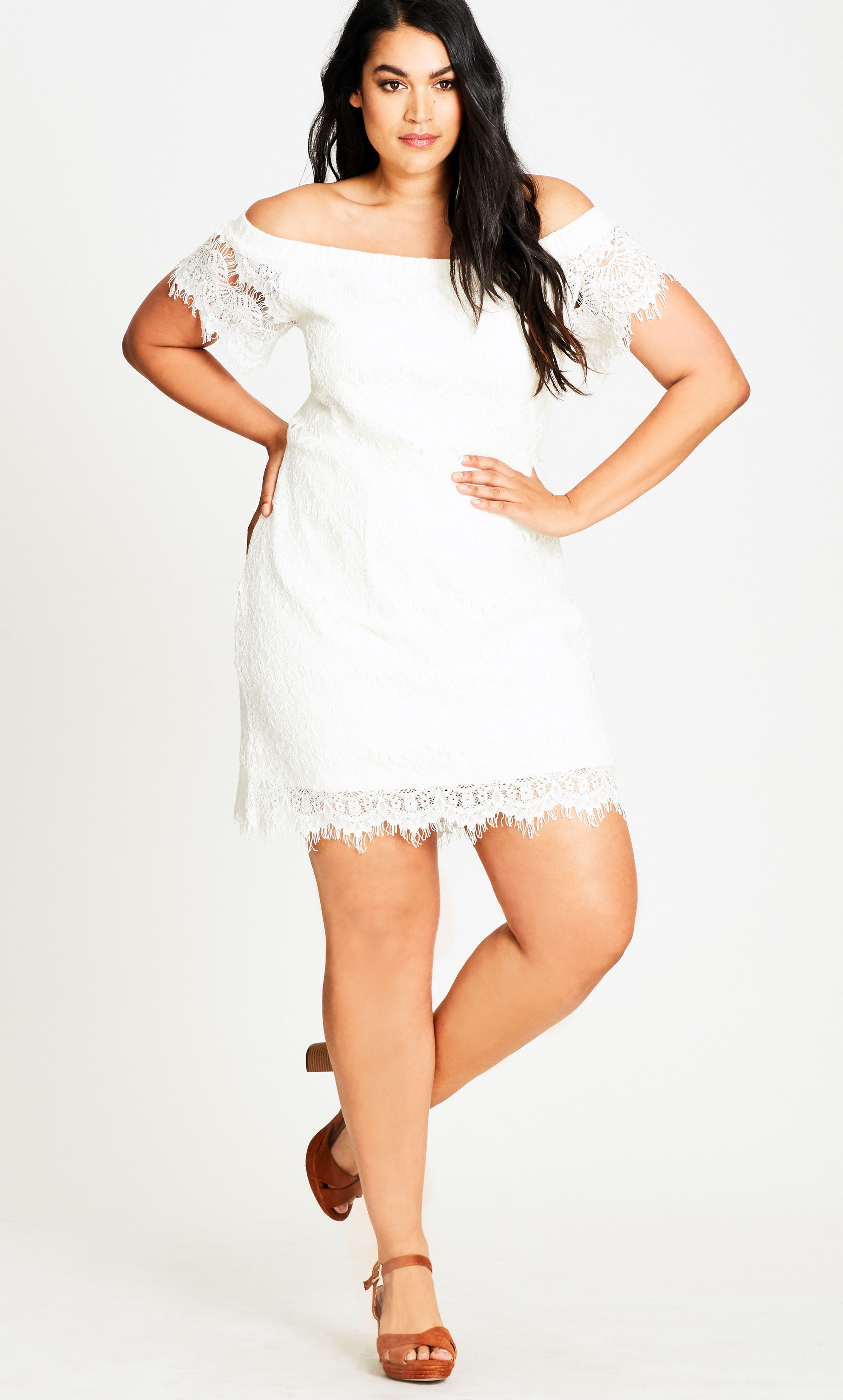 Plus Size Plus Size Ivory Lace Off Shoulder Shift Dress In Ivory At City Chic Citychiconline Com Plus Size Party Dresses Plus Size Fashion Dresses