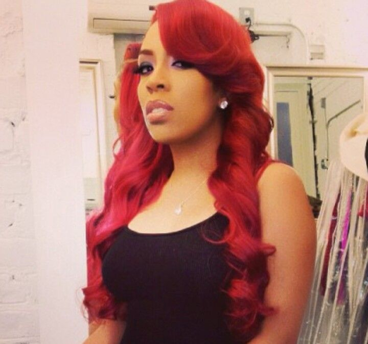 K Michelle With Fire Red Hair And Purple Eye Paint This Is Hot Hair Styles Fire Red Hair Hair
