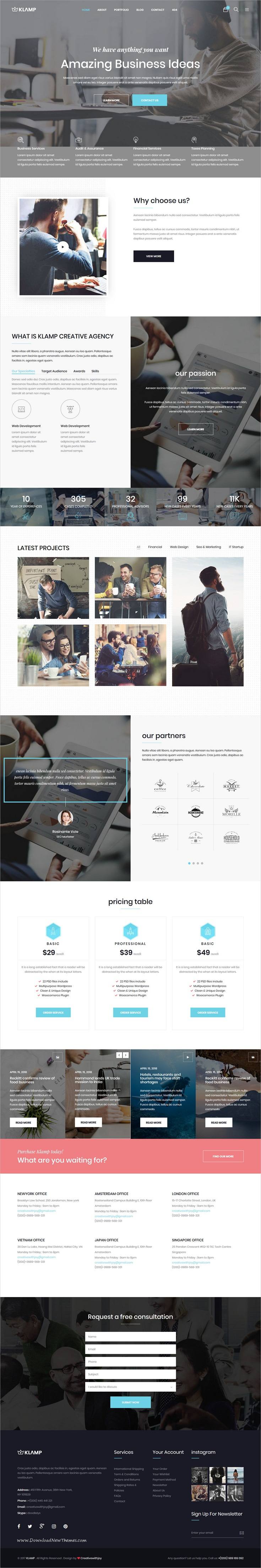 Klamp - Multipurpose HTML Template | Template, Web design ...