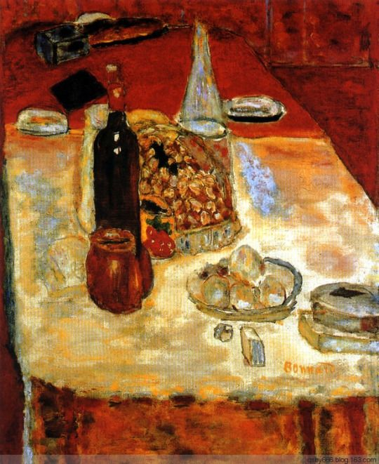 Still Life with Bottle of Red - Pierre Bonnard 1942