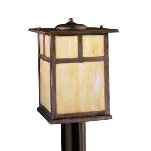 Kichler lighting 9953cv alameda 1 light incandescent outdoor post light canyon view with honey