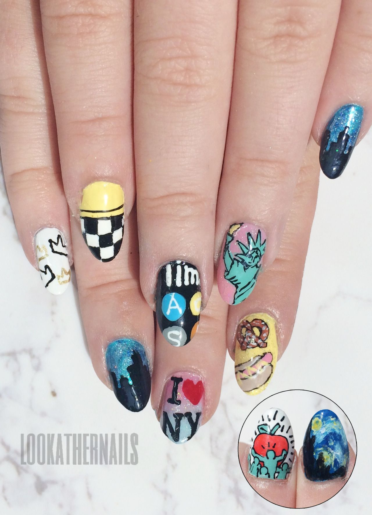 New York City nail art By LookAtHerNails | Claws | Pinterest | City ...