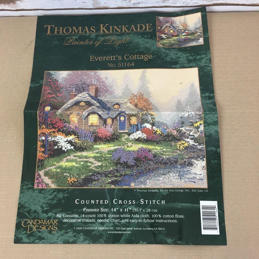 Thomas kinkade everettus cottage counted cross stitch kit candamar