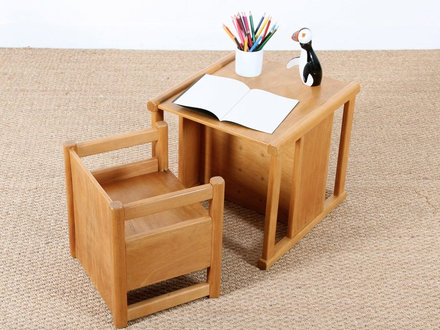 Scandinavian Reversible Children S Table And Chair Set By Kay Bojesen Kids Table And Chairs Childrens Table Table And Chair Sets