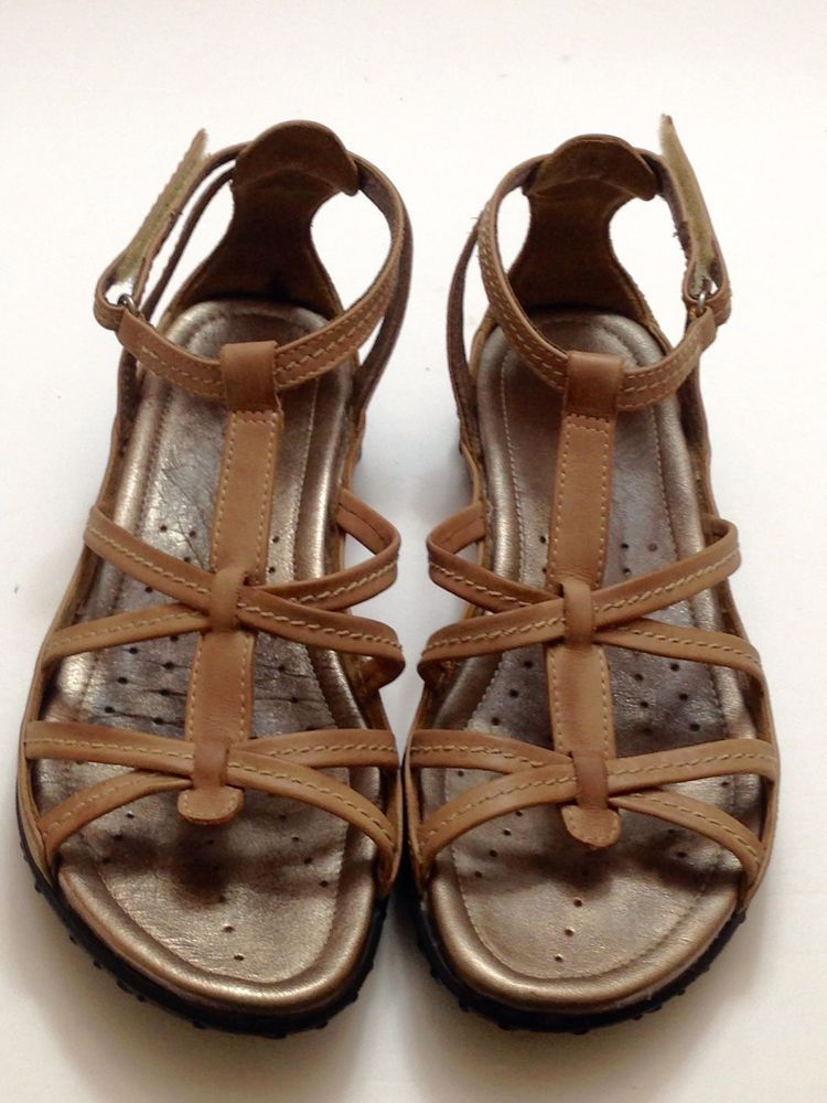 ECCO Women's Sandals Strappy Taupe Leather Velcro Ankle Strap SZ 39 US 8