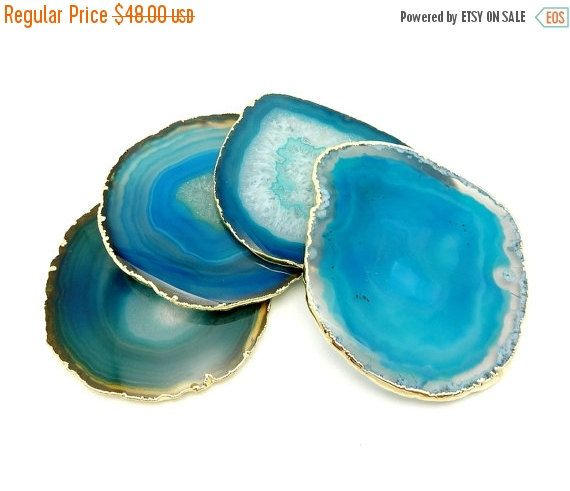 FLASH SALE Agate Coasters Light Teal and Green Dyed Coasters  - PETITE Agates with Druzy Center 24k Gold Electroplated Edges Set Of 4 - (Rk4