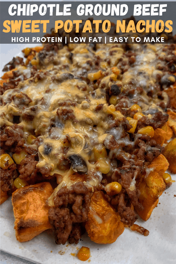Spicy Chipotle Ground Beef And Black Beans Over Roasted Sweet Potatoes What S Not To Love In 2020 Sweet Potato Nachos Recipes Iifym Recipes