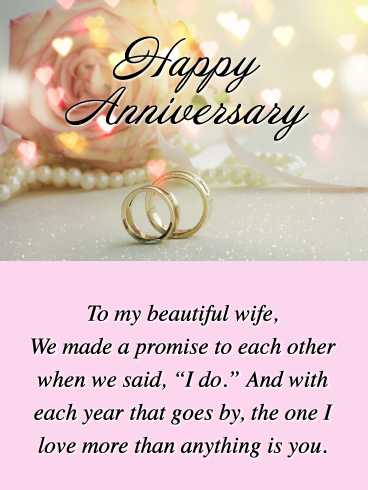 To My Beautiful Wife Happy Anniversary Card For Wife Birthday Greeting Cards By Davia Anniversary Cards For Wife Birthday Greeting Cards Happy Anniversary