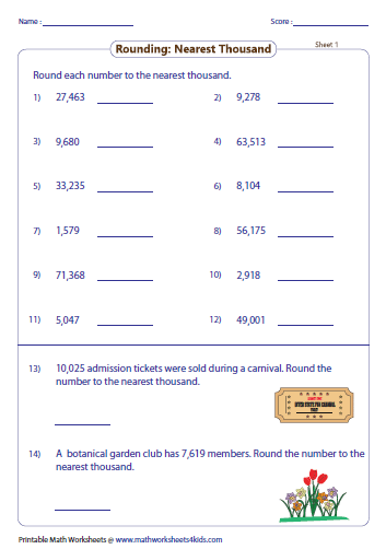 Round each number to the nearest thousand. | Number Sense ...