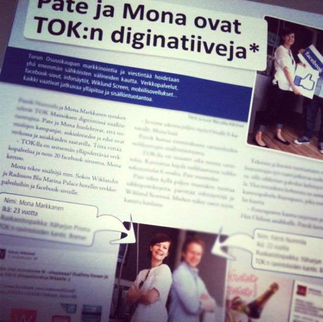 EXPERIENCE: 3/2012 - 12/2013 Content Producer & AD @ Turun Osuuskauppa