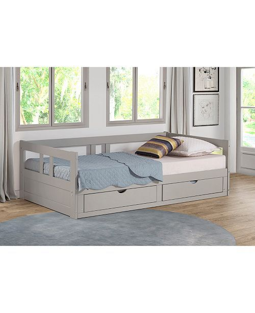 Alaterre Furniture Melody Twin To King Trundle Daybed With Storage