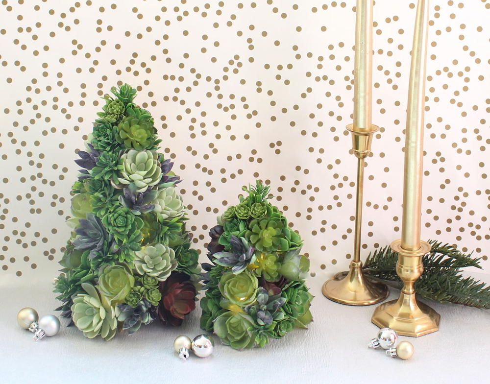 DIY Succulent Christmas Tree Trees, Christmas trees and Mantels