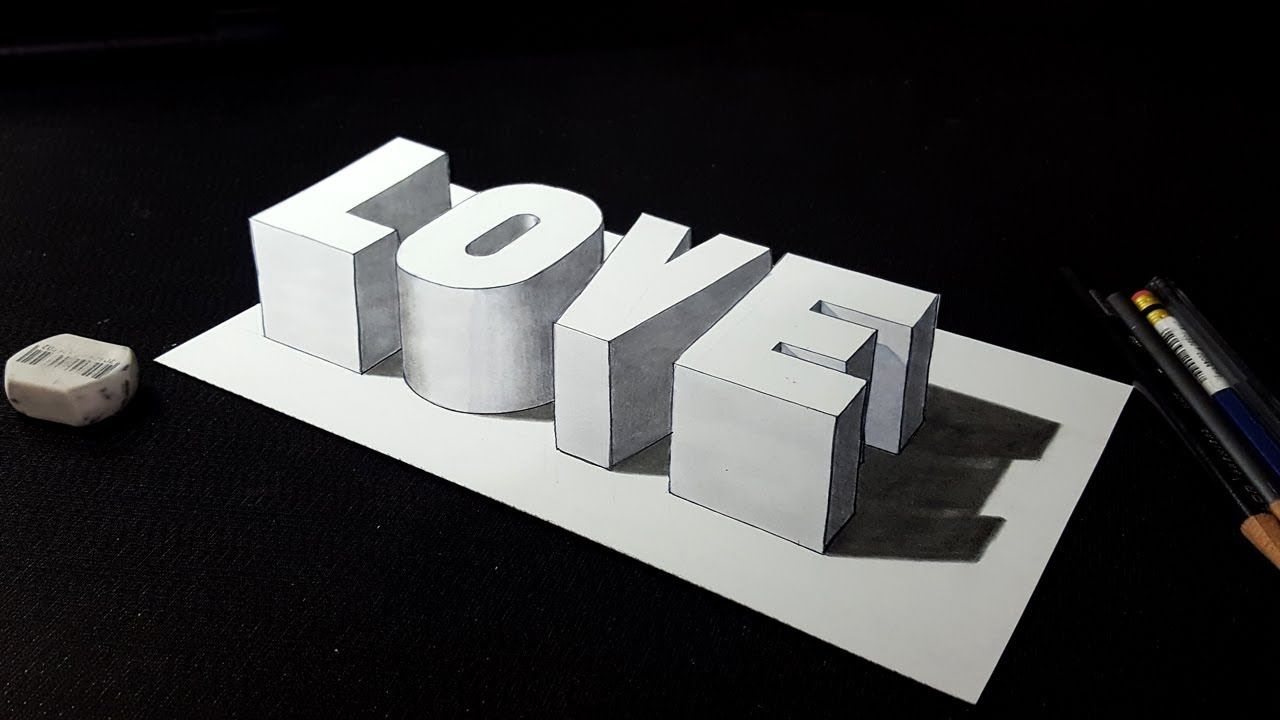 How To Draw 3d Love Word Drawing 3d Letters Youtube Word Drawings 3d Drawings Easy Drawings