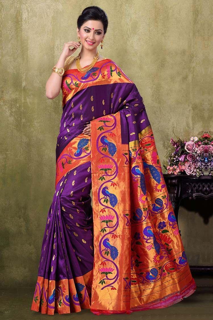 Saree images paithani paithani brinjal majanta color saree  saree select  pinterest