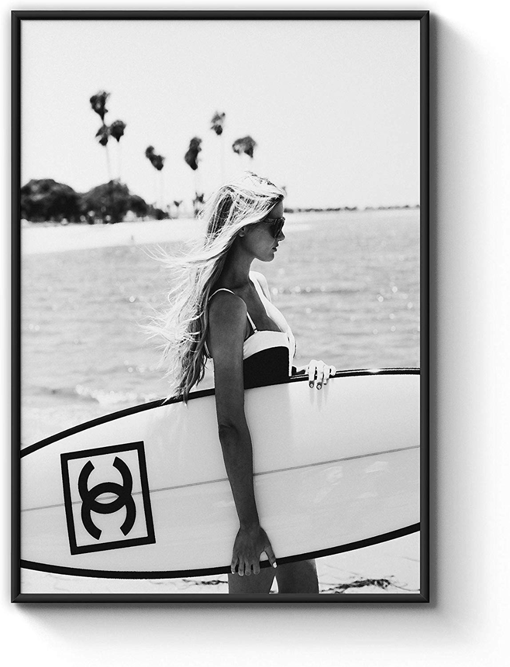 Set of 2 art prints designer beauty photography fashion bedroom surf black white