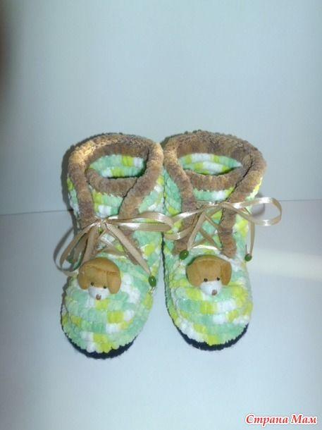 детские сапожки из помпонной вязаная обувь Pinterest