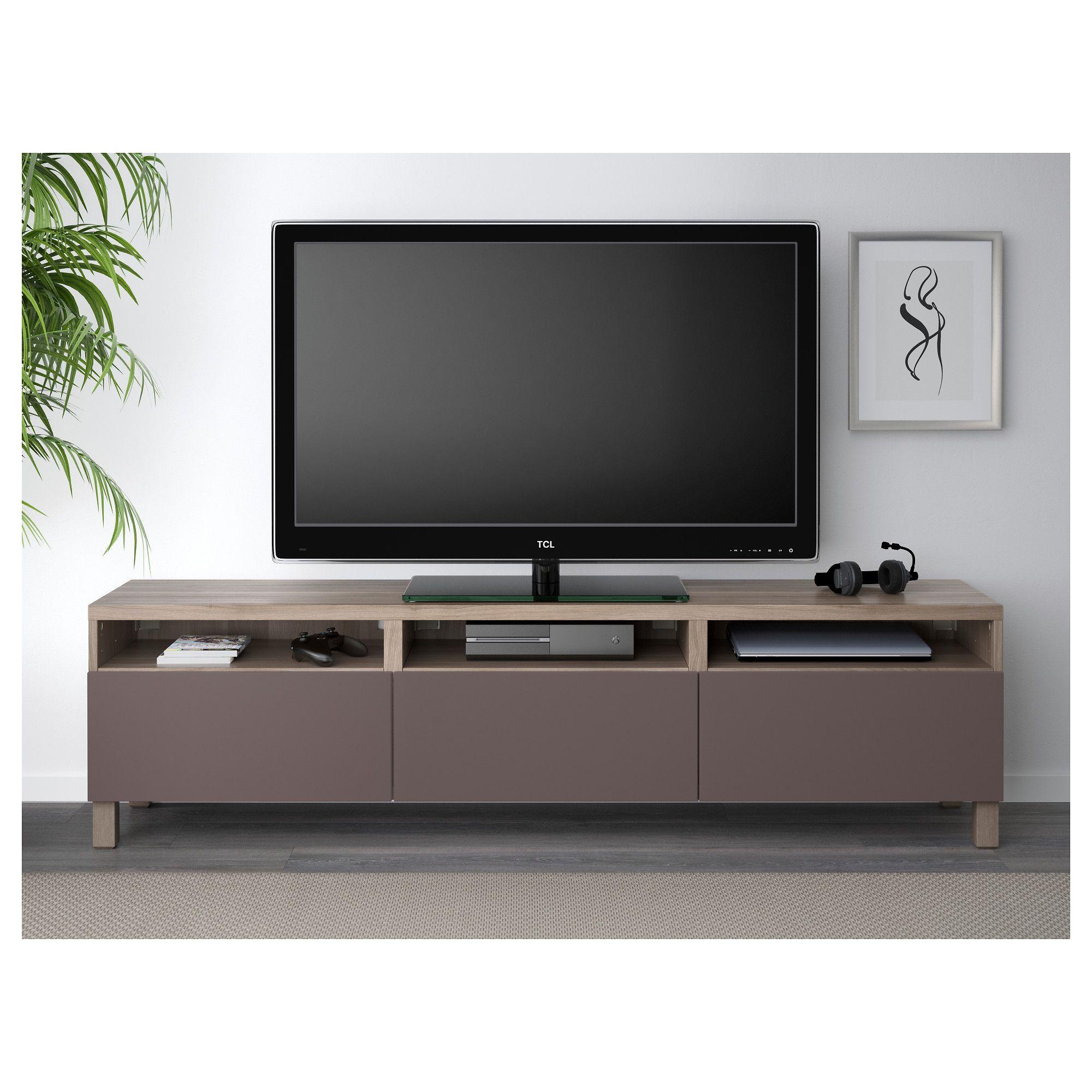 ikea - bestÅ tv unit with drawers walnut effect light gray, valviken