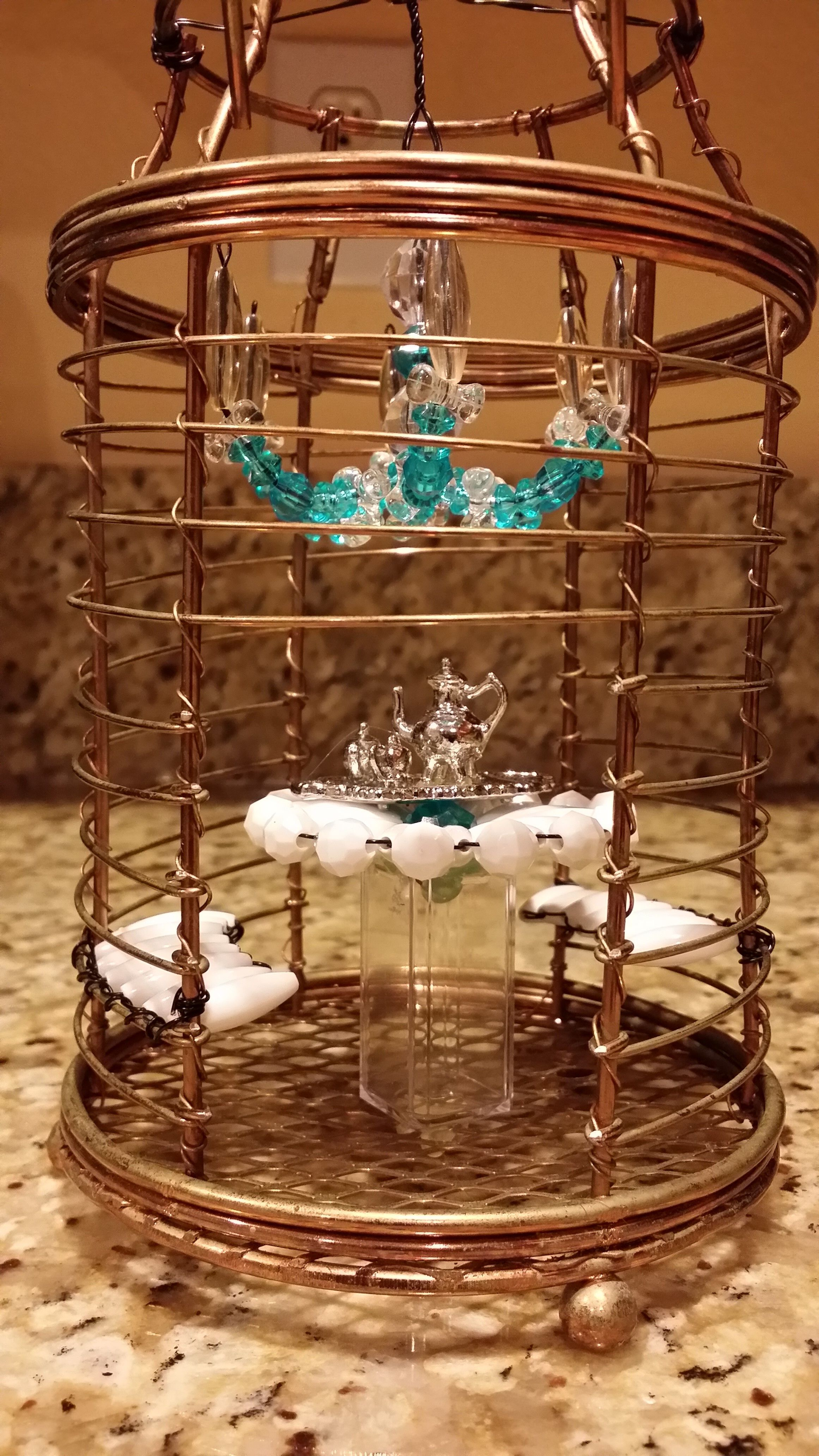 Diy fairy garden gazebo with chandelier table and bench made diy fairy garden gazebo with chandelier table and bench made out of beads and jewelry wire the table base is a clear lipstick cap arubaitofo Choice Image