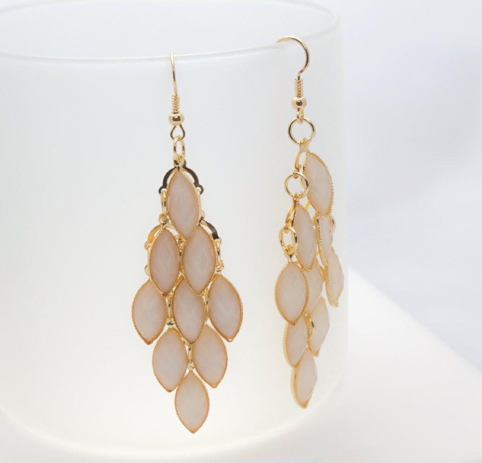 """#ModellaJewelryBoutique Lillian Pink Stone Facet Cut Chandelier Hook Gold 3"""" Earrings"""