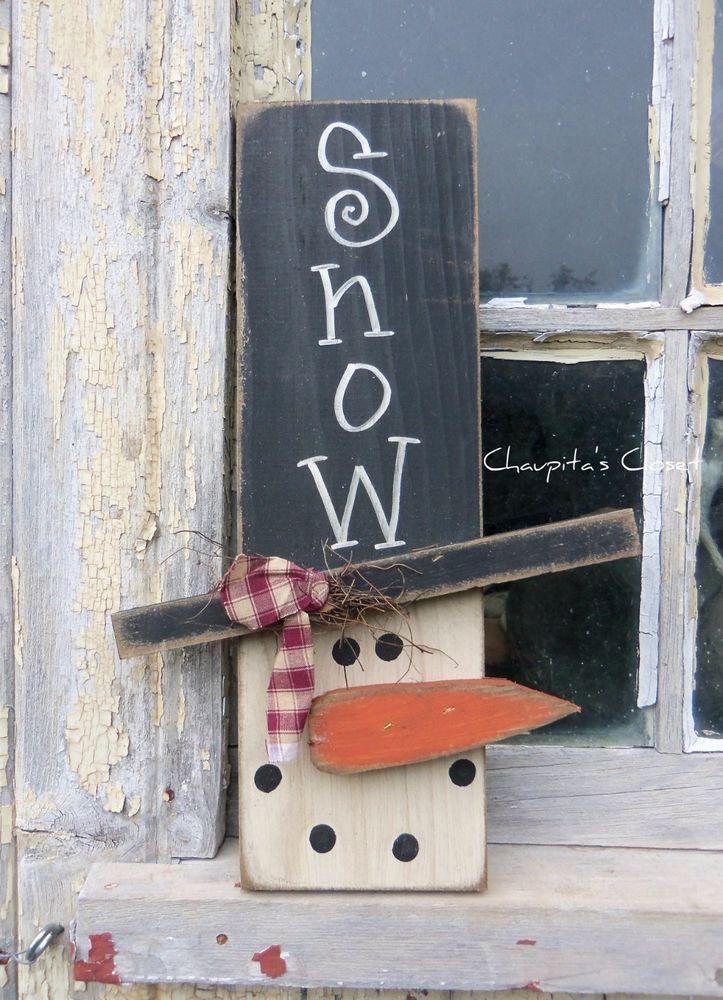 nice PRIMITIVE Snowman Wood Sign Door Rustic