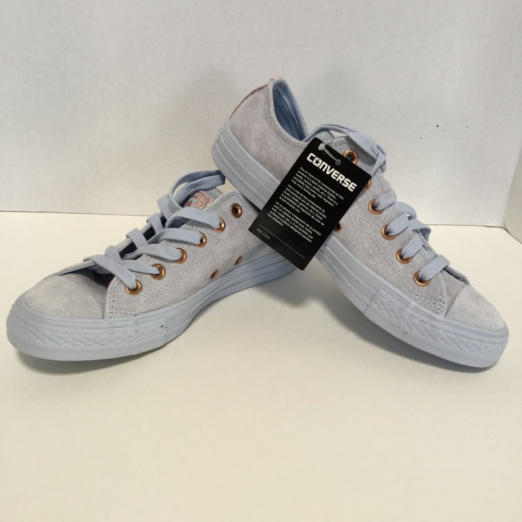 Converse All Star Low Leather Powder Blue Rose Gold