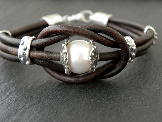 Pearl Bracelet Artisan Sterling Silver Leather Bracelet Love Knot